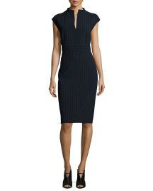 Max Mara Doppio-Pinstriped Split-Neck Sheath Dress at Bergdorf Goodman