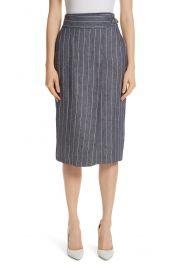 Max Mara Palco Pinstripe Linen Skirt at Nordstrom