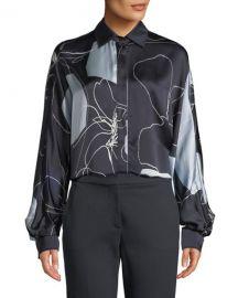 Maxmara Renna Abstract-Print Silk Button-Front Blouse at Neiman Marcus