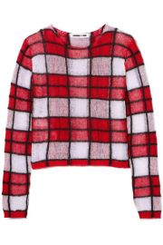 McQ Alexander McQueen - Checked linen-blend sweater at Net A Porter
