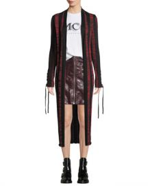 McQ Alexander McQueen Bodycon Striped Lace-Up Cardigan at Neiman Marcus