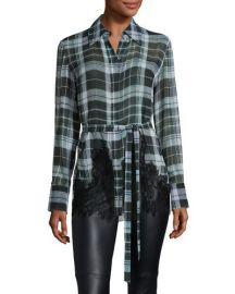 McQ Alexander McQueen Fluid Tartan Plaid Silk Blouse  Green at Neiman Marcus