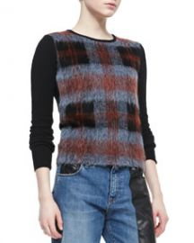 McQ Alexander McQueen Mohair Plaid-Front Crewneck Sweater at Neiman Marcus