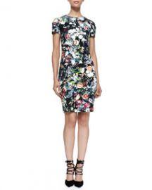 McQ Alexander McQueen Short-Sleeve Floral Festival-Print Dress at Neiman Marcus