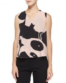 McQ Alexander McQueen Sleeveless V-Neck Printed Volume Top at Neiman Marcus