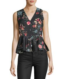 Meadow Sleeveless Peplum Top by Rebecca Taylor at Last Call