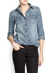 Medium wash denim shirt at Mango