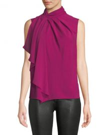 Megan High-Neck Flounce Sleeveless Top at Last Call