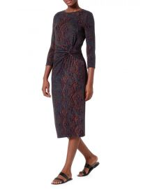 Meika Snakeskin Print Gathered Midi Dress by Joie at Saks Fifth Avenue