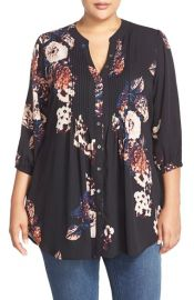 Melissa McCarthy Seven7 Belted Floral Print Pintuck Blouse at Nordstrom