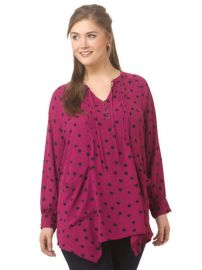 Melissa McCarthy Seven7 Pintuck Sharkbite Top in Splattered Dots at Gwynnie Bee