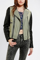 Members Only Fabric-Mix Moto Jacket at Urban Outfitters
