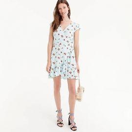 Mercantile faux-wrap mini dress in roses print at J. Crew