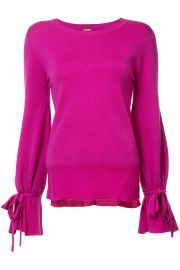 Merino Wool Crewneck Sweater With Bell Sleeve by Adam Lippes at Orchard Mile