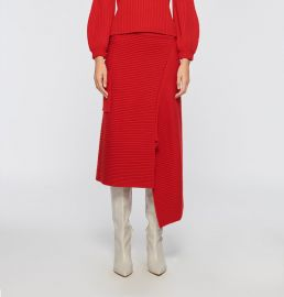 Merino Rib Sweater Origami Slit Skirt at Tibi