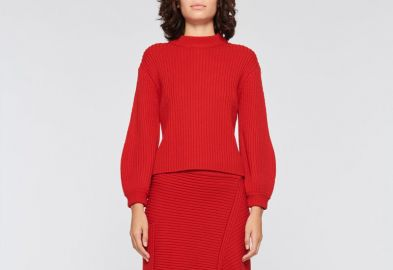 Merino Rib Sweater Slit Neck Pullover at Tibi