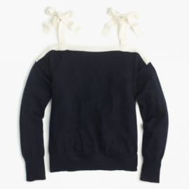 Merino wool cold-shoulder sweater at J. Crew