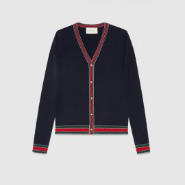 Merino wool knitted cardigan at Gucci