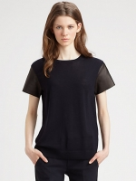 Merino wool leather sleeve tee by Vince at Saks Fifth Avenue