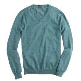 Merino wool v-neck sweater in hthr spruce at J. Crew