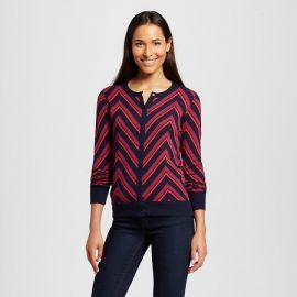 Merona Favorite Cardigan Long Sleeve Chevron Xavier Navy at Target