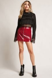 Mesh Lace-Up Cropped Hoodie at Forever 21
