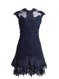 Mesh-insert fluted-hem lace dress at Matches