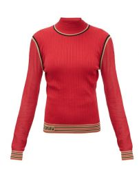 Mesh-sleeve Logo-Intarsia Silk Sweater by Fendi at Matches