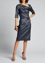 Metallic  Tucked Bodice Sheath Dress by Rickie Freeman for Teri Jon at Bergdorf Goodman