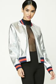 Metallic Bomber Jacket by Forever 21 at Forever 21
