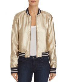 Metallic Faux Leather Bomber Jacket at Bloomingdales