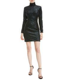 Metallic Knit Turtleneck Dress at Neiman Marcus