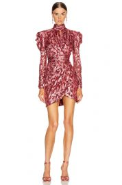 Metallic Mockneck Wrap Dress at Forward