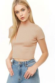 Metallic Ribbed Mock Neck Top by Forever 21 at Forever 21