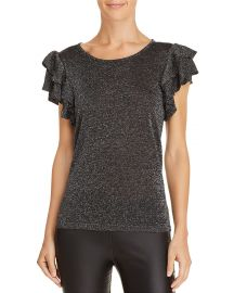 Metallic Ruffle-Sleeve Top at Bloomingdales