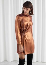 Metallic Satin Side Knot Mini Dress at & Other Stories