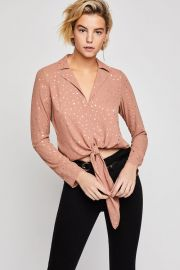 Metallic Star Tie-Front Blouse at BCBGeneration