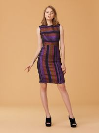 Metallic Stripe Sheath Dress at DvF