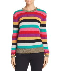 Metallic-Trim Rainbow-Stripe Sweater at Bloomingdales
