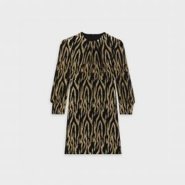 Metallic Zebra Stripe Mini Dress by Celine at Celine