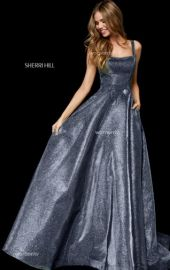 Metallic glitter A-line gown with pockets at Sherri Hill