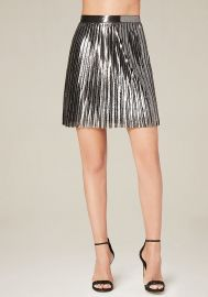 Metallic pleated skirt at Bebe