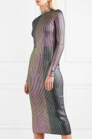 Metallic ribbed-knit midi dress by Christopher Kane at Net A Porter
