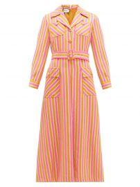Metallic-stripe tailored wool-blend dress at Gucci