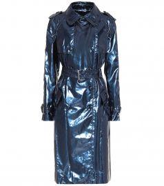 Metallic vinyl trench coat at Mytheresa