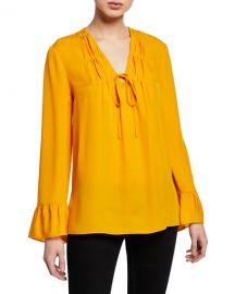 Mia V-Neck Long-Sleeve Silk Blouse at Bergdorf Goodman