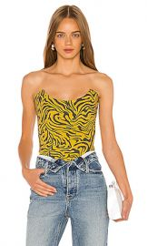 Miaou Leia Corset in Yellow Zebra Print from Revolve com at Revolve