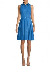 Michael Kors Collection - Sleeveless Pleated Polka-Dot Shirt Dress at Saks Fifth Avenue