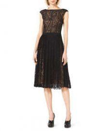 Michael Kors  Paisley-Lace A-Line Dress at Neiman Marcus