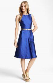 Michael Kors Belted A-line Shantung Dress at Nordstrom